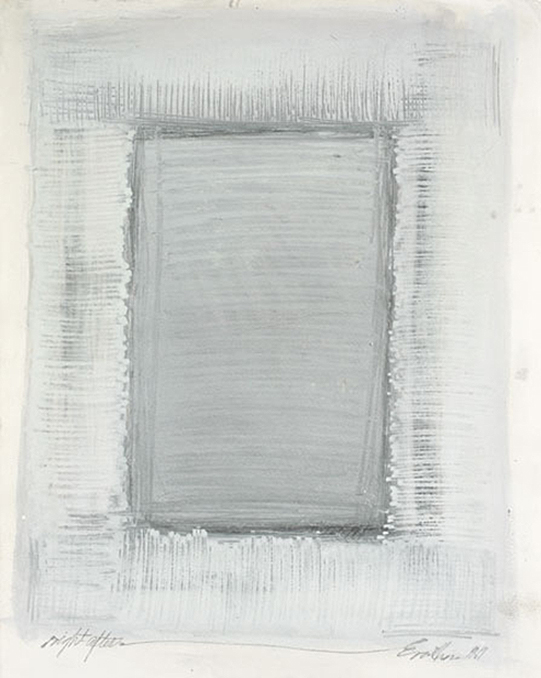 Wonderingmind Studio: Eva Hesse, Right After, 1969. Silver gouache and pencil on paper, 22-1⁄4 x 15 inches